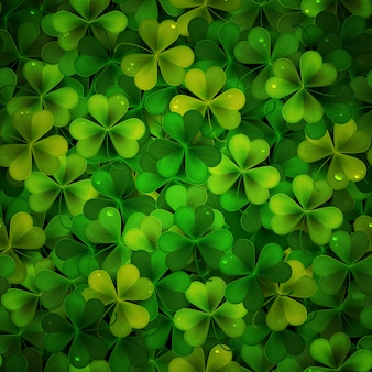 Background with green realistic shamrock leaves