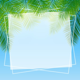 Background with green tropical leaves of palm trees.