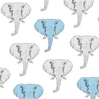 Фон с серыми и синими слонами