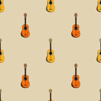 기타와 배경입니다. 음향 및 음향 악기. 무료 벡터