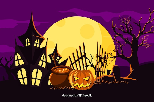 Background with halloween flat design