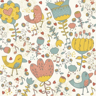 Background with hand drawn birds and flowers