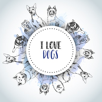 Background with hand drawn dogs breeds.