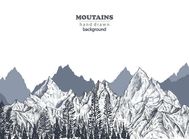 Background with hand drawn graphic mountain ranges and pine forest nature landscape