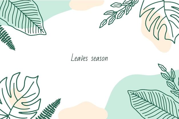 Sfondo con cornice di foglie disegnate a mano e forme astratte