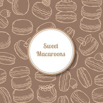 Background with hand drawn macaroons and circle with shadow with place for text illustration
