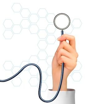 Фон с рукой, держащей стетоскоп. Premium векторы