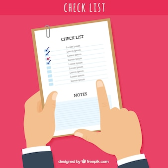 Background with hand pointing a checklist