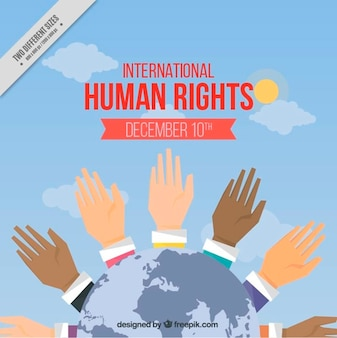 Background with hands raised of the international human rights day