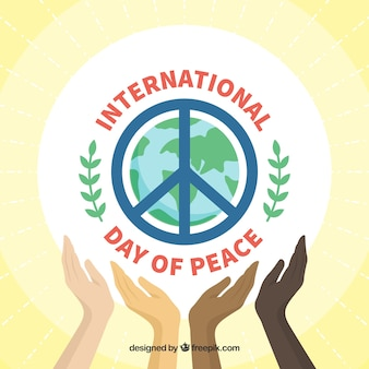 Background with hands and symbol of peace
