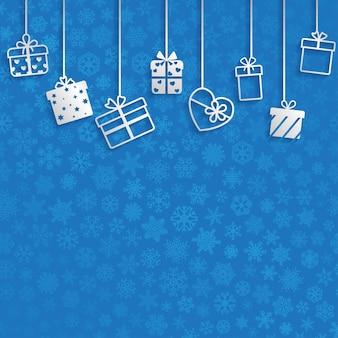 파란색에 흰색 매달려 선물 상자와 배경
