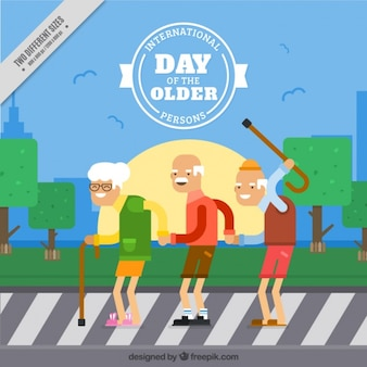 Background with happy grandparents on a pedestrian crossing