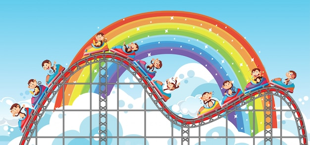 Background with happy monkeys riding roller coaster