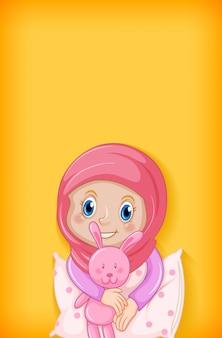 Фон со счастливой мусульманской девушкой в пижаме