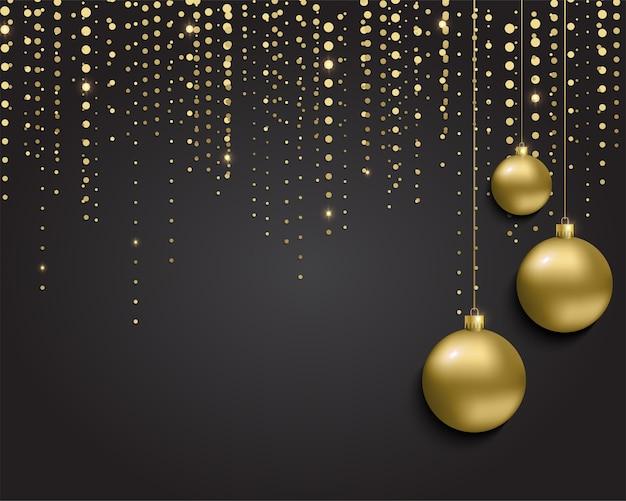 明けましておめでとうございますとクリスマスの背景。メタリックゴールドのクリスマスボール