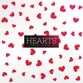 Красные сердца узор фона