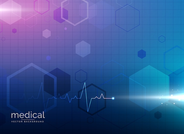 Background with hexagons and electrocardiogram
