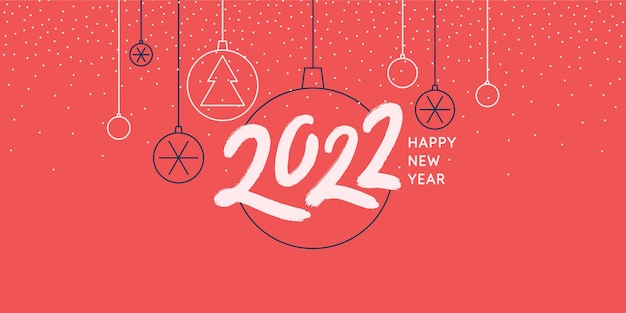 Background with the inscription happy new year 2022 vector illustration in flat flat style