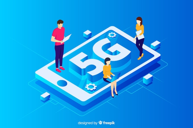 Background with isometric 5g concept