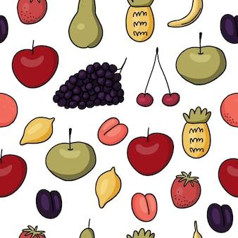 ジューシーな果物の背景。フルーツのシームレスなパターン。ベクトルイラスト