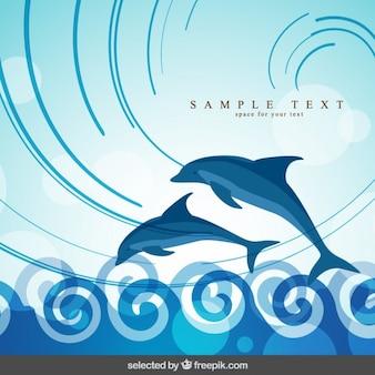 Фон с дельфинами, прыжки