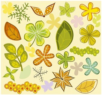 Background with leaves and flowers