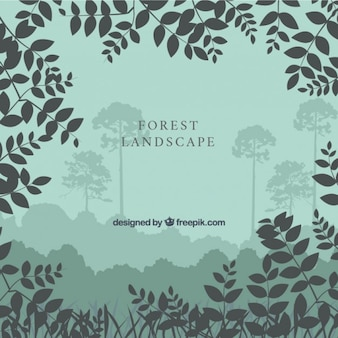 Background with leaves silhouettes