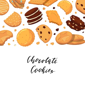 Background with lettering and with cartoon cookies illustration