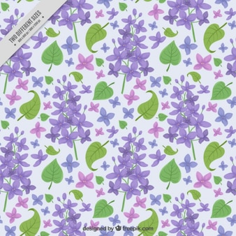 Background with liliac flowers and leaves