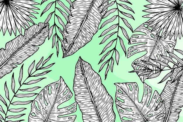 선형 열대 나뭇잎과 파스텔 색상의 배경