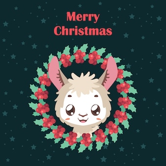 Background with llama and christmas wreath