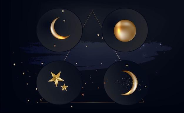 Фон с волшебными фазами луны, звездами. концепция астрономии