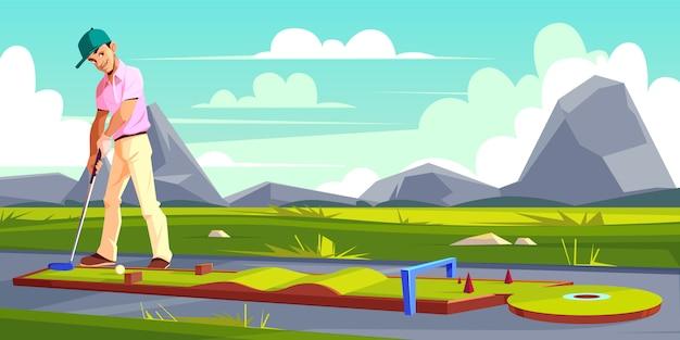 Фон с человеком, играя в гольф на зеленой траве.