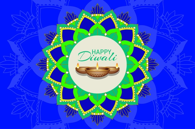 Background with mandala pantern for happy diwali festival