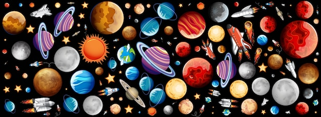 Background with many planets in space