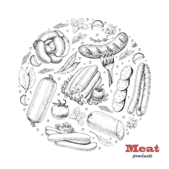 Background with meat products