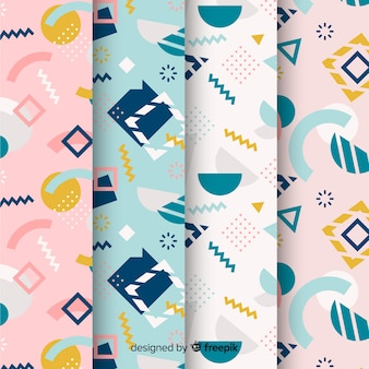 Background with memphis pattern collection