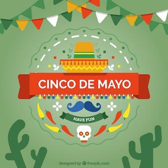 Sfondo con elementi messicani di cinco de mayo