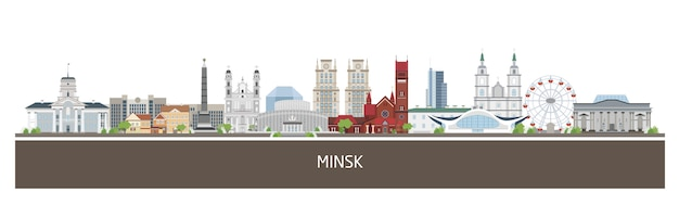 Background with minsk city buildings and place for text. horizontal orientation banner, flyer, header for site.