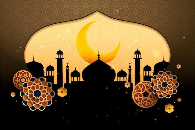 Фон с силуэтом купола мечети и цветочным бумажным искусством