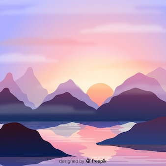 Background with mountains and water
