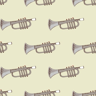 Background with musical instrument trumpet. concert and party,
