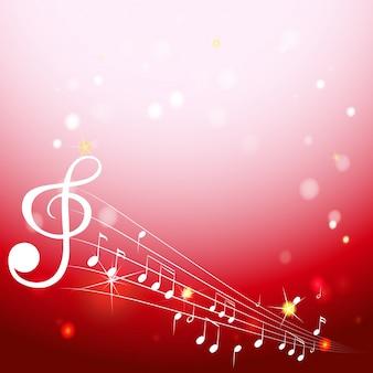 Sfondo con note musicali su scale bianche