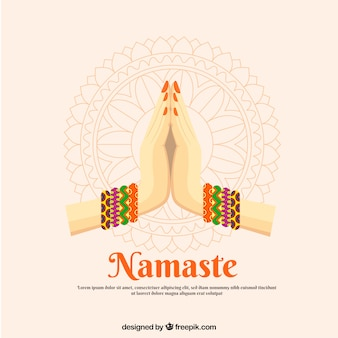 Background with namaste greeting