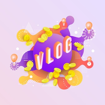 Background with neon colored liquid drops and splashes vlog cover  .