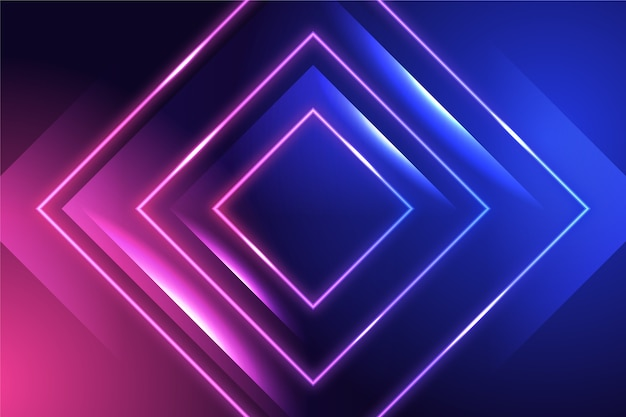 Background with neon lights and squares