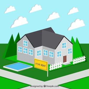 Background with a nice house for rent