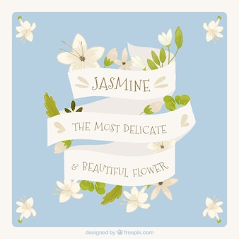 Background with nice vintage ribbon with jasmine message
