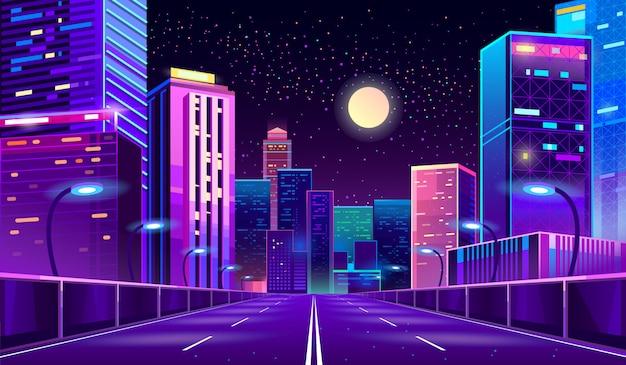 Фон с ночным городом в неоновых огнях