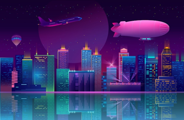 네온 불빛에 밤 도시와 배경